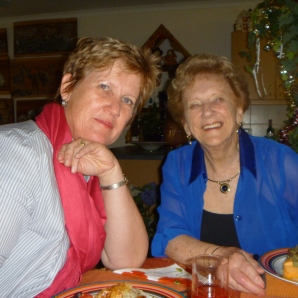 my mom and grandmother - christmas dinner at the farm